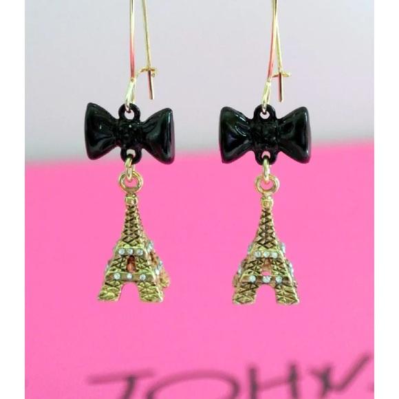 4040cd73b358d Betsey Johnson Antique Gold Eiffel Tower Earrings Boutique